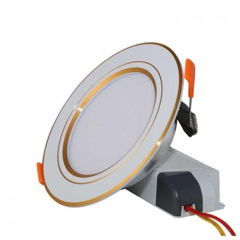 Đèn LED Âm trần Downlight 90/7W Viền Vàng